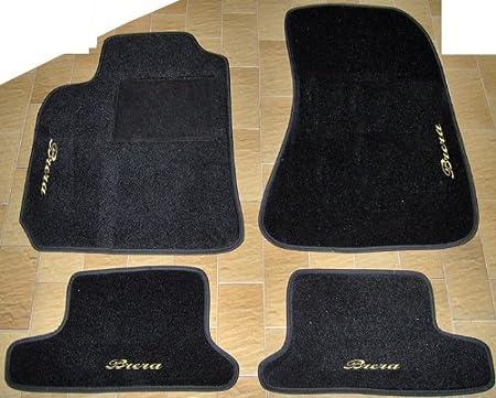 SonCar Tappeti per Auto Neri set completo di Tappetini in Moquette su Misura con Ricamo a Filo Rosso