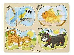 Melissa & Doug Pets 4-in-1 Wooden Peg Puzzle - Bird, Goldfish, Cat, and Dog (16 pcs)