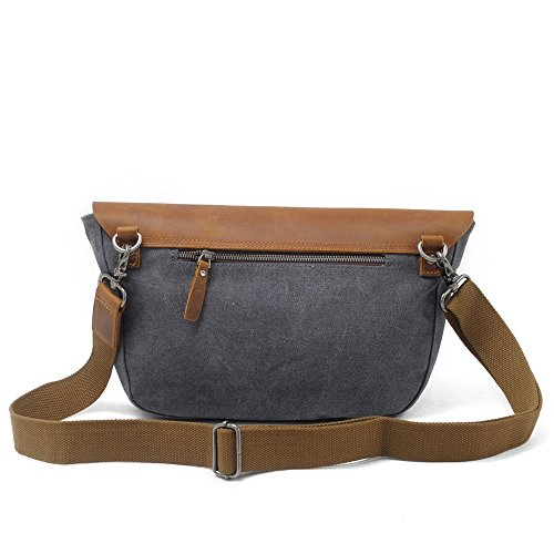 Zipper Shopping Messenger Gray Canvas Color Shoulder Bag Large Dark Simple Waterproof Retro Capacity 71tSSa