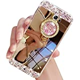 Galaxy Note 8 Case,XIHUA Luxury Crystal Rhinestone Soft Rubber Bumper Bling Diamond Glitter Mirror Makeup Case with Ring Stand Holder for Samsung Galaxy Note 8 - Gold