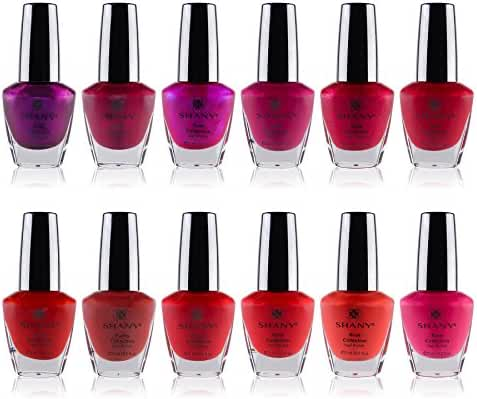 SHANY Nail Polish Set - 12 Rose-inspired Shades with Gorgeous Semi Glossy and Shimmery Finishes - Rose Collection