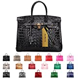 SanMario Designer Handbag Top Handle Padlock Women's Leather Bag Crocodile's Skeleton Patterns Embossed with Golden Hardware Black 35cm/14''