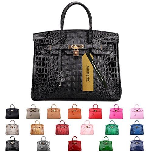 SanMario Designer Handbag Top Handle Padlock Women's Leather Bag Crocodile's Skeleton Patterns Embossed with Golden Hardware Black 35cm/14'' by SanMario