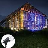 Waterproof Halloween Projector Lights - YINUO LIGHT Outdoor Spotlight Rotating Led Light - Adjustable Projection Kaleidoscope for Garden - Swimming Pool - DJ Bar Wedding Party Decoration(Blue-Warm White)