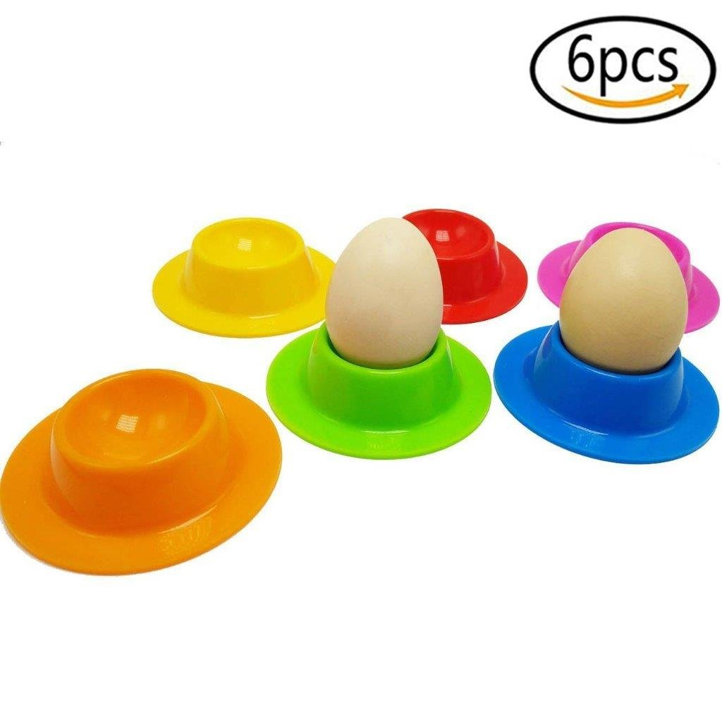 CosCos 6 Pcs Silicone Egg Cups Plate Holders Stand Set, Egg poachers Maple Leaves
