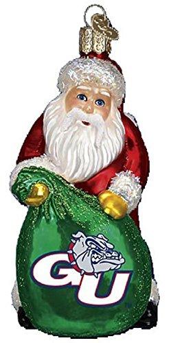 Gonzaga Bulldogs Glass Christmas Ornament - Santa