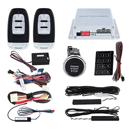 EASYGUARD Rolling Code car Alarm System with Passive keyless Entry Push Start Stop Button Touch Password Entry Vibration Alarm auto Start Starter ec002-lb-ns DC12V