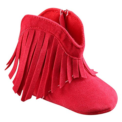 Weixinbuy Baby Girl's Tassel Soft Bottom Non-slip Cowboy Boots Toddler Shoes (Cowboy Boot Red)