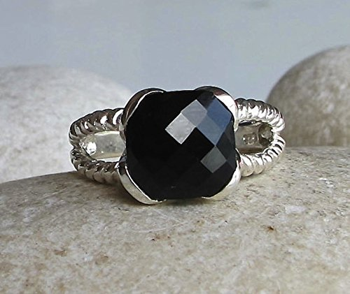 Black Onyx Statement Ring- Double Rope Band Ring- Black Gemstone Faceted Ring- Sterling Silver Ring- Minimalist Simple Ring (Onyx Rope Ring)