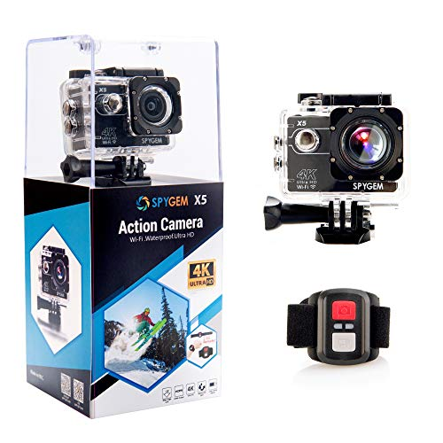 SPYGEM X5 Waterproof Digital Action Camera with 2.0 inch LCD 4K/30FPS Ultra HD Video 16MP Photos Live Streaming EIS External Mic Remote Control 170 Degree Wide Angle WiFi HDMI 1 Year Warranty (Black)