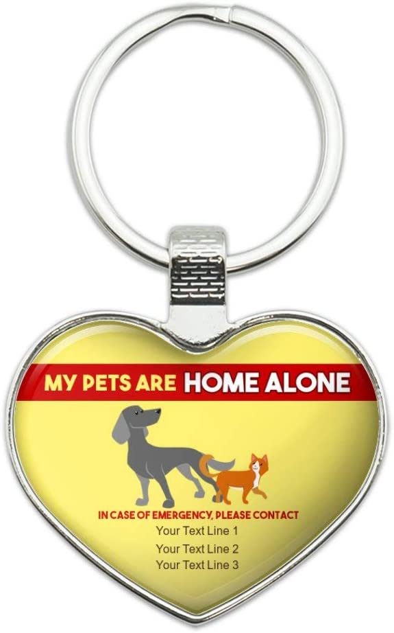 Personalized Custom My Pets are Home Alone 3 Lines of Text Keychain Heart Love Metal Key Chain Ring
