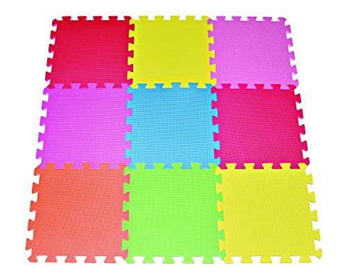 "We Love Crawling Baby 1/2"" Thick Playmat (12""x12"", 9-count)"