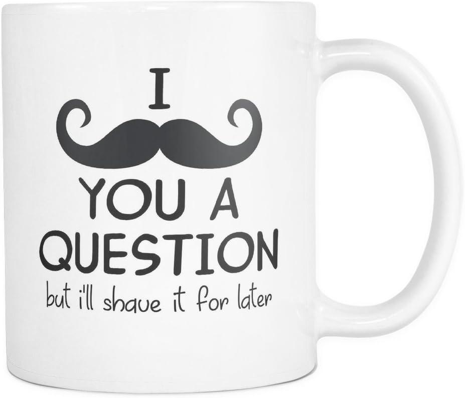 Amazon Com I Mustache You A Question Mug Moustache You A Question Mug Funny Coffee Mug Pun Mug 11oz Coffee Mug Cup By Monkey Duo Kitchen Dining