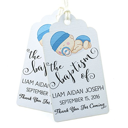 Summer-Ray 50pcs Personalized White Royale Baptism Party Favors Gift Tags with Baby Boy Print -