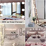 Vanity Lights, Hollywood Style Natural Light Makeup Mirror 10 Dimmable & Removable LED Bulbs, 16.4ft/5m Light String USB Powered for ALL of your DIY Projects at Home and Office (Mirror Not Included)