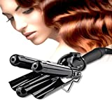 Professional 25mm Hair Waver 3 Barrels Jumbo Ceramic Hair Curler Rollers Crimper Beach Curl Curling Iron Hair Styling Tools with LCD Temperature Display Salon Home Use Black BLUETOP