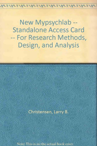 NEW MyPsychLab -- Standalone Access Card -- for Research Methods, Design, and Analysis (12th Edition) (Research Methods Design And Analysis 12th Edition)