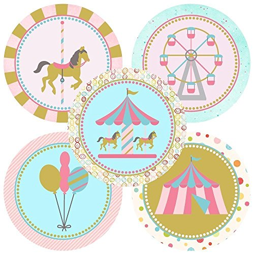 Carousel Sticker Labels - Birthday Baby Shower Party - Set of 50 ()