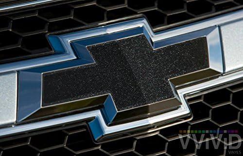 11.8 Inch x 4 Inch 6 Rolls + Squeegee VViViD Black Metallic Chevy Bowtie Logo Wrap Kit