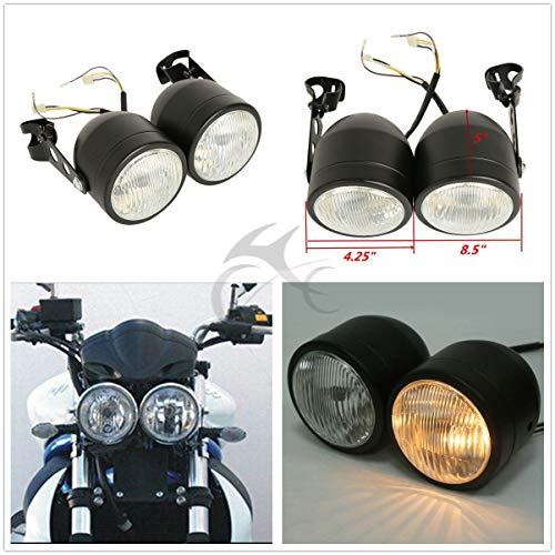 XFMT Twin Front Headlight W/Bracket Compatible with Harley Dual Sport Motorcycle Street ()