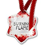 Christmas Ornament Burning Flame Coal Grill Fire Place, red - Neonblond