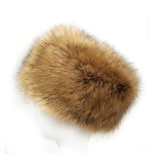 Dikoaina Faux Fur Cossack Russian Style Hat for Ladies Winter Hats for Women (L, Raccoon)