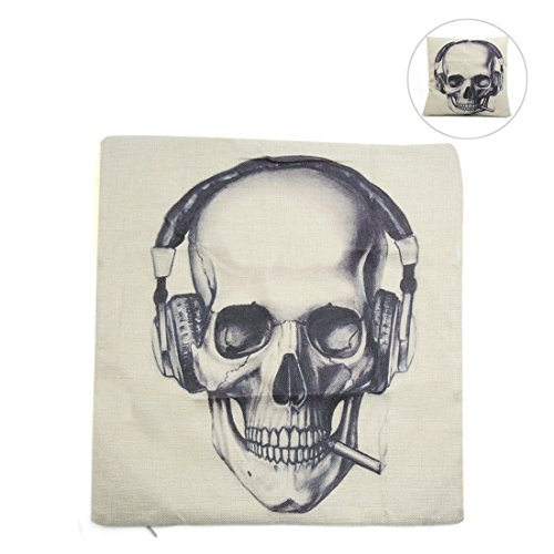 (uxcell Square Linen Earphone Skull Printed Car Throw Cushion Pillow Cover Home Decor)