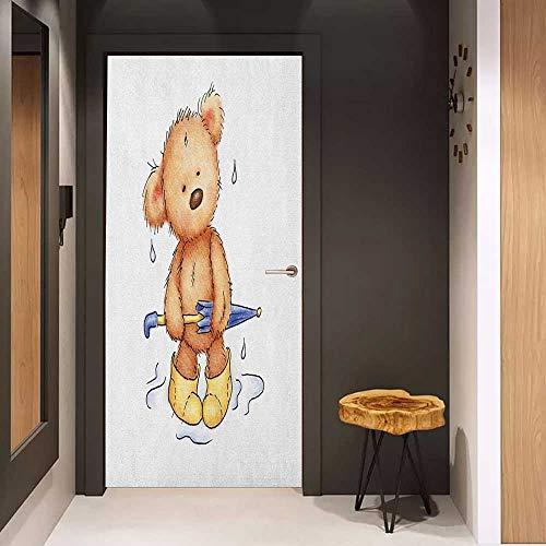 (Onefzc Door Sticker Mural Bear Teddy Bear Caught up in Rain with Rubber Boots Holding an Umbrella Cartoon WallStickers W31 x H79 Sand Brown Yellow Blue)