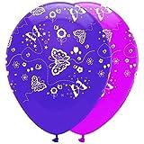 1x Lot de 6 Papillons Rose & Violet Mix Ballons En Latex avec un tout autour imprimé
