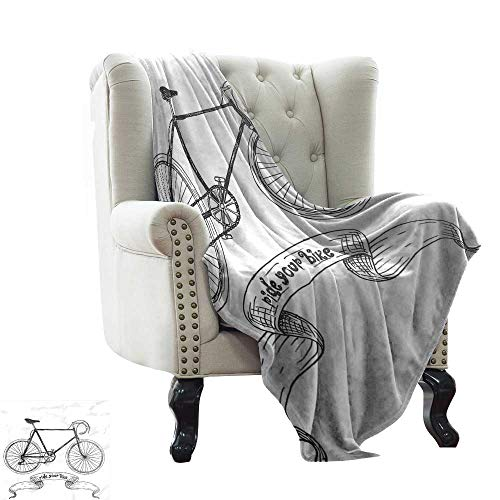 Warm Blanket Ride Your Bike Lettering with Nostalgic Mountain Bike Hand Drawn Sketchy Fall Winter Spring Living Room 60