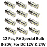 Gold Stars 12 X 10760090-12W LED Replacement Bulb 1076 Base 200 Lums 12v or 24v Natural White