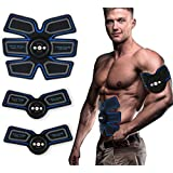 Fourwinner ABS Stimulator - Abdominal Toning Belt&EMS Body Muscle Trainer Fat Burner Equipment - 6 Modes & 10 grades stimulus intensity - Portable USB Charger (blue+black)