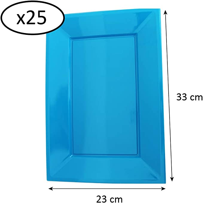 Extiff Lot de 25 Assiettes Color/ées en Plastique Recyclable Dimensions et Couleurs au Choix Orange, 23 x 33 cm