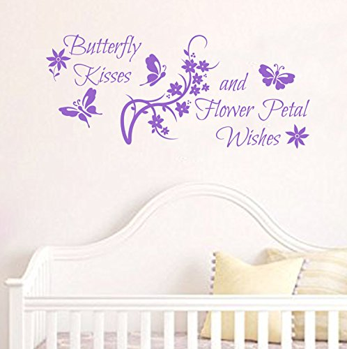 Butterfly Kisses and Flower Petal Wishes adorable nursery wall decal (Lavender, 35w x 15h)