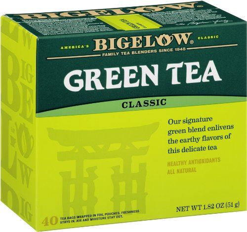 Bigelow Classic Green Tea Bags, 40-Count Boxes (Pack of 6), Green Tea Bags, All Natural, Gluten Free, Rich in Antioxidants