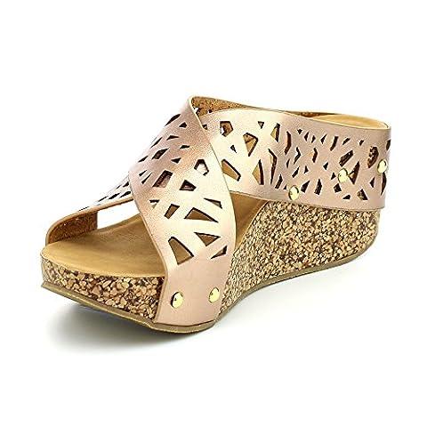 WestCoast Elva-15 Women's Comfort Open Toe Stud Slip On Platform Wedge Heel Sandals Rose/Gold 7 - Cork Platform Sandals