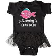 inktastic - Mommys Fishing Buddy Infant Tutu Bodysuit 24 Months Black 2fa4e