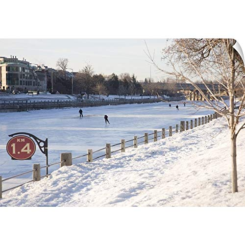 People Skating on The Frozen Canal in Winter, Ottawa, Ontario, Canada Wall Peel Art Print, 24