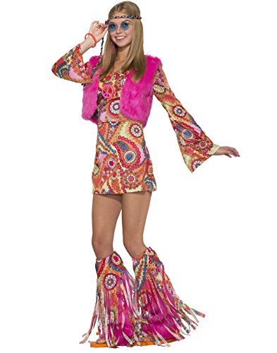 Groovy Girl Costume (Forum Women's Hippie Girl Fur-Ever Groovy Costume, As Shown, STD)