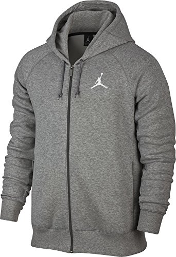 Nike Mens Jordan Flight Full Zip Hooded Sweatshirt Light Grey/White 823064-063 Size X-Large by Jordan