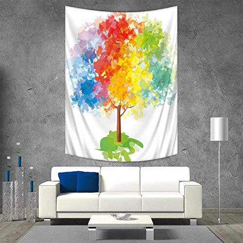 Rainbow Tapestry Wall Hanging 3D Printing Multicolored Abstract Tree Seasons of The Year Inspirations Blooming Nature Imagery Beach Throw Blanket 40W x 60L INCH Multicolor