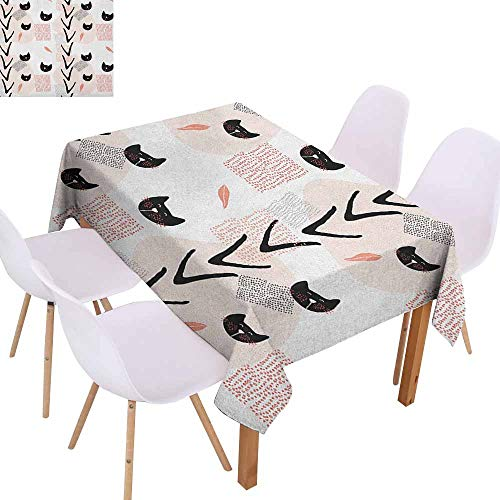 (Marilec Polyester Tablecloth Modern Cute Cat Faces with Dotted Whiskers Kittens Animals Kids Nursery Theme Washable Tablecloth W40 xL60 Dark Coral Black)