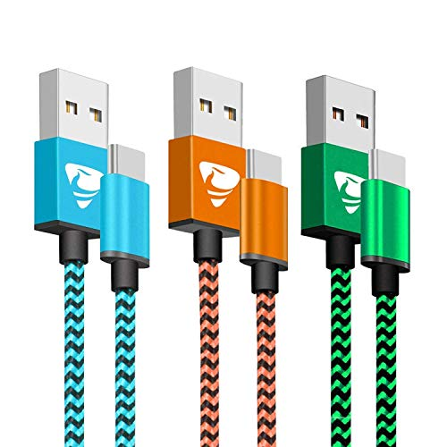 USB C Charge Cable Aioneus [3-Pack/3 ft] USB C Cable Nylon Braided USB C Charger Cable Compatible with Samsung Galaxy S9/S8+, Huawei Mate 20/P9, Nintendo Switch, Sony Xperia XZ and More- Blue/Green/Orange