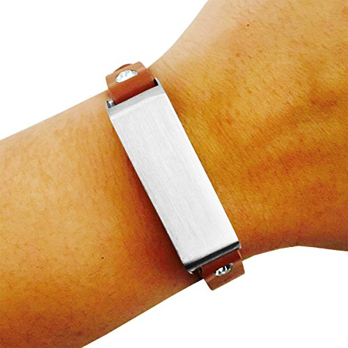 Fitbit Bracelet for FitBit Flex Fitness Trackers - The KATE Single-Strap Brushed Metal and Genuine Leather Buckle Fitbit Bracelet (Tan and Silver Crystal, (Studded Wristband Single)