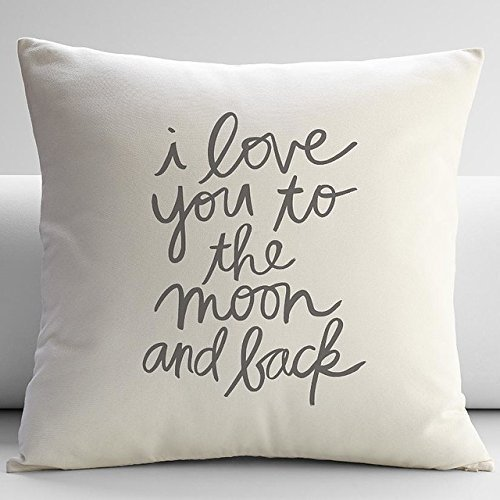 Love You to the Moon and Back Throw Pillow, Ivory contemporary decorative pillows Case Joutletshop