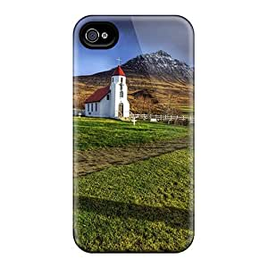RAndersons GIu2438VaLu Case Cover Iphone 4/4s Protective Case Beautiful Country Church An Cemetery Hdr