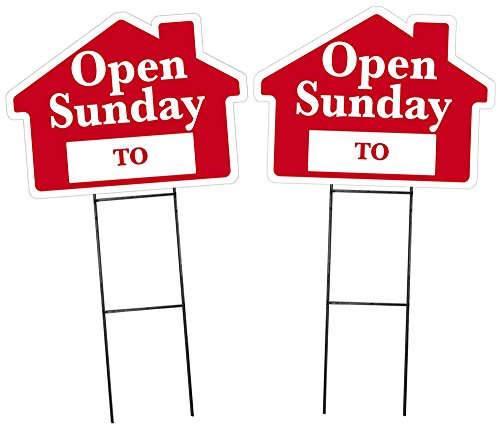 Open Sunday Sign with Area for Time - 2 Pack - Red House Shape Corrugated Sign Includes 24