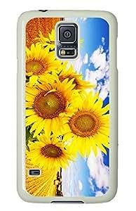 White Fashion Case for Samsung Galaxy S5,PC Case Cover for Samsung Galaxy S5 with Sunflower