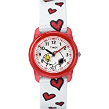 Timex Girls TW2R41600 Time Machines Peanuts Snoopy & Hearts Elastic Fabric Strap Watch