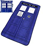 Doctor Who Throw Pillow And Blanket Set - Tardis Style Square Cusion (16'' x 16) and Classic Tardis Micro Raschel Throw (50'' x 89'')